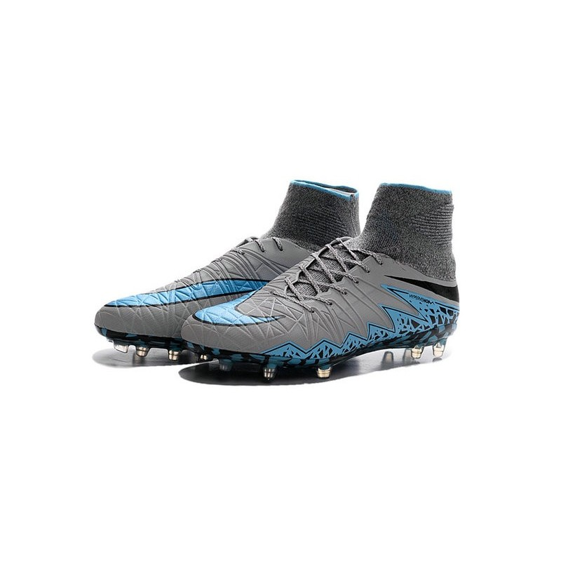 2016 best nike hypervenom phantom ii soccer shoes grey blue black. Black Bedroom Furniture Sets. Home Design Ideas