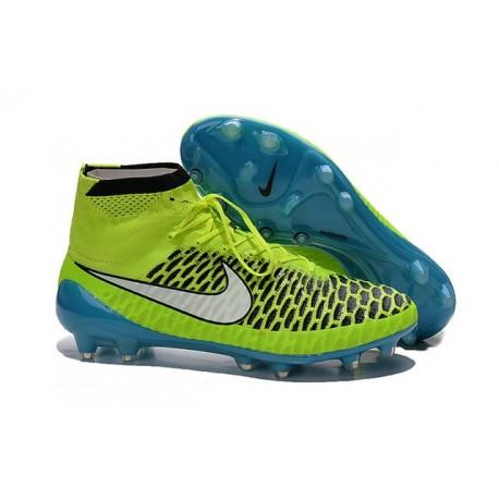 Football Boots For Men Nike Magista Obra FG Volt White Blue Lagoon Black
