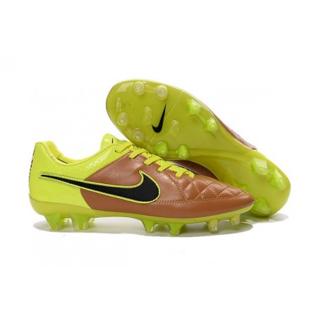 Nike Football Boots For Men - Tiempo Legend V FG Canvas Black Volt