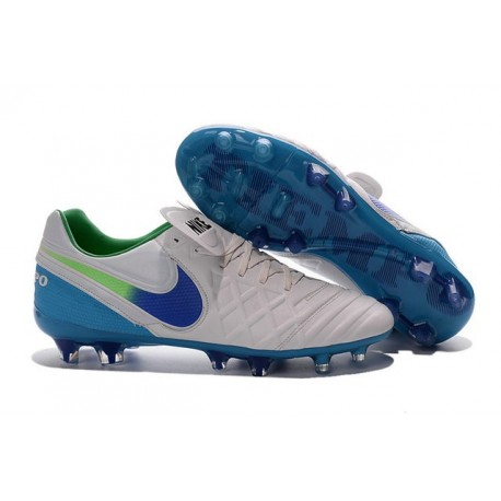New Cleats Nike Tiempo Legend VI FG Football Boots For Men White Blue Green
