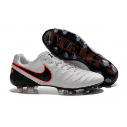 New Cleats Nike Tiempo Legend VI FG Football Boots For Men Pure Platinum Black Orange