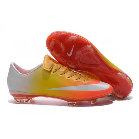 New Shoes - Nike Mercurial Vapor 10 FG Footballl Shoes Orange Yellow Gold White
