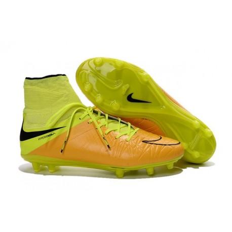 2016 Best Nike Hypervenom Phantom II Soccer Shoes Leather Canvas Black Volt