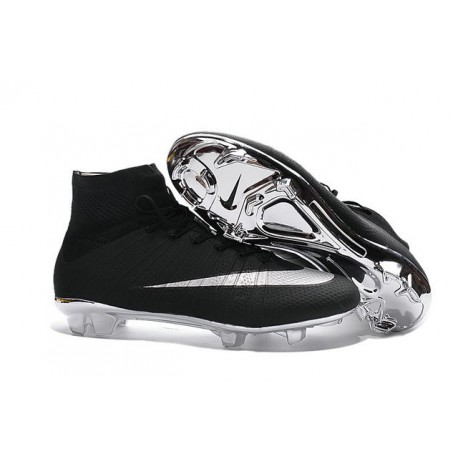 Nike Mercurial Superfly IV FG Soccer Cleats - Latest Shoes Silver Black