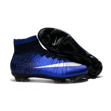 Men's Nike Mercurial Superfly IV FG Soccer Shoes Deep Royal Blue Metallic Silver Racer Blue