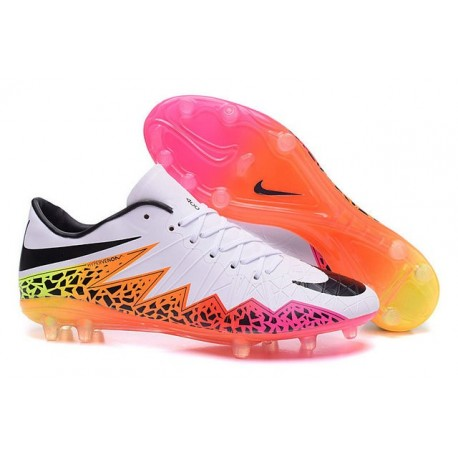 2016 Nike Men's Hypervenom Phinish II FG Soccer Boots - White Orange Pink Black