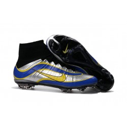Nike New Shoes Mercurial Superfly Heritage 4 FG Soccer Cleats Black Silvery Blue Yellow