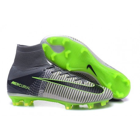 Cleats 2016 - Shoes Nike Mercurial Superfly V FG Grey Black Green