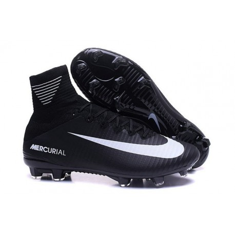 Cleats 2016 - Shoes Nike Mercurial Superfly V FG Black White