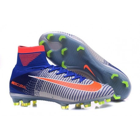 Cleats 2016 - Shoes Nike Mercurial Superfly V FG Blue White Orange