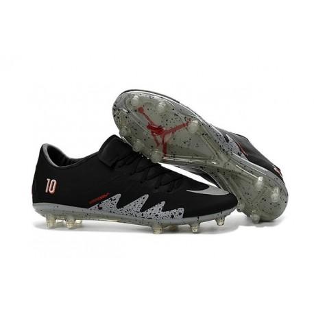 2016 Nike Men's Hypervenom Phinish II FG Soccer Boots - Neymar x Jordan Black Light Crimson White Metallic Silver