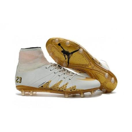 Nike Hypervenom 2 Phantom Men's Nike Football Cleats Neymar x Jordan White Gold