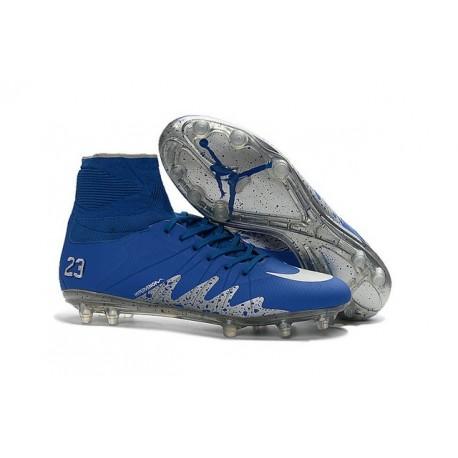 2016 Best Nike Hypervenom Phantom II Soccer Shoes Neymar x Jordan Blue Silver