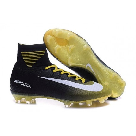 Cleats 2016 - Shoes Nike Mercurial Superfly V FG Yellow Black White