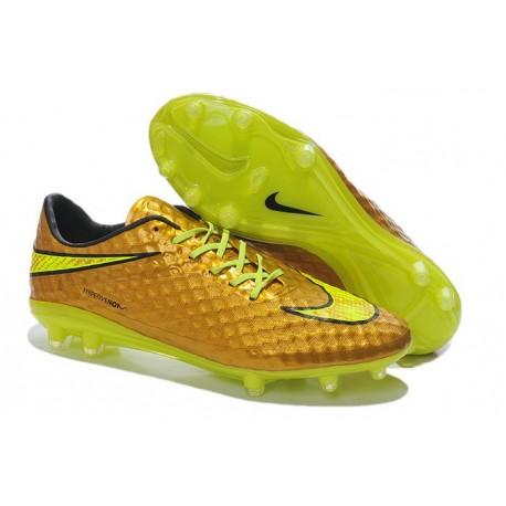 New Nike Men's Hypervenom Phantom FG Football Cleats - Gold Black Volt