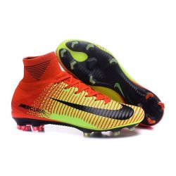 Cleats 2016 - Shoes Nike Mercurial Superfly V FG Red Volt Black