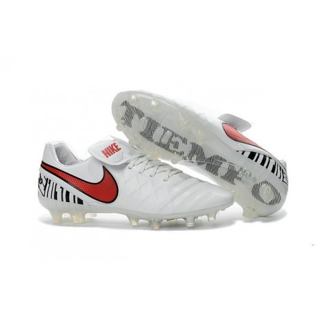 2016 Latest Nike Shoes - Nike Tiempo Legend 6 FG Football Shoes White Red