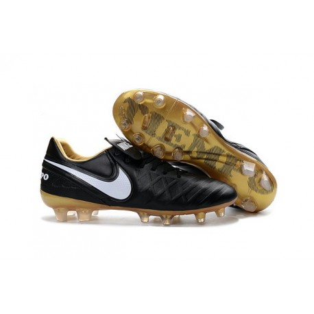 2016 Latest Nike Shoes - Nike Tiempo Legend 6 FG Football Shoes Black White Gold