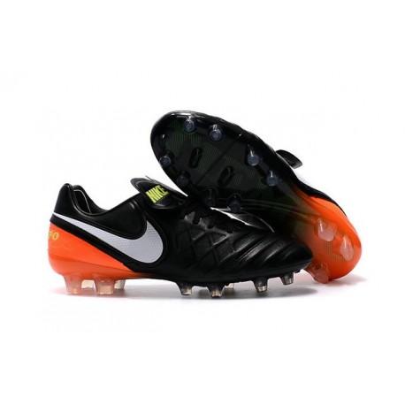 2016 Latest Nike Shoes - Nike Tiempo Legend 6 FG Football Shoes Black White Hyper Orange Volt
