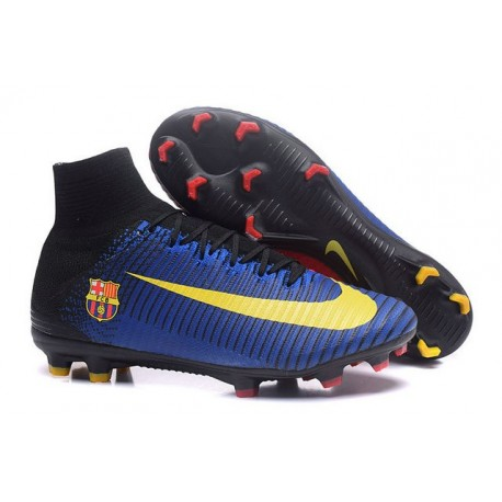 Cleats 2016 - Shoes Nike Mercurial Superfly V FG Barcelona FC Blue Red Yellow Black