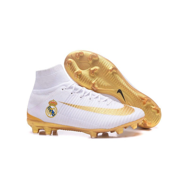 New Soccer Cleats - New Nike Mercurial Superfly 5 FG Real Madrid FC White  Gold