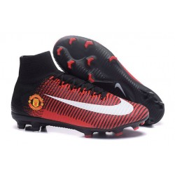 Cleats 2016 - Shoes Nike Mercurial Superfly V FG Manchester United Football Club Red Black White