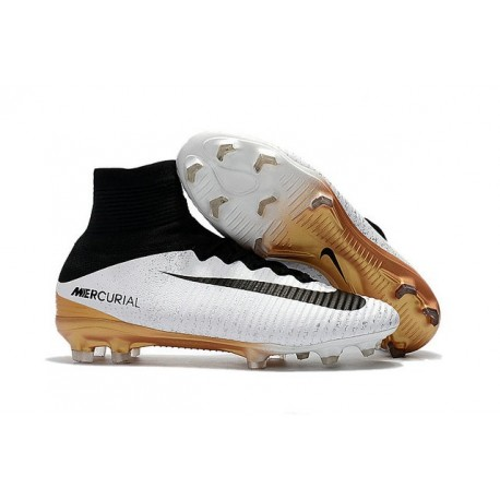 New Soccer Shoes - Shoes Nike Mercurial Superfly V FG White Gold Black