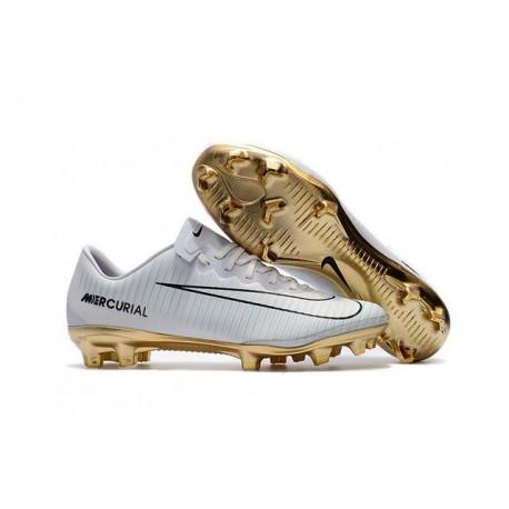 Shoes For Men - Nike Mercurial Vapor 11 FG Soccer Football CR7 Vitórias White Gold Black