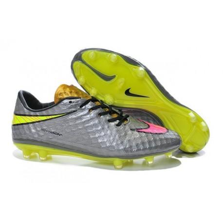 New Nike Men's Hypervenom Phantom FG Football Cleats - Chrome Hyper Pink Metalic Gold
