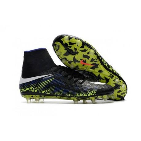 Men's Football Cleats - Nike Hypervenom Phantom II Soccer Shoes Black White Volt Blue