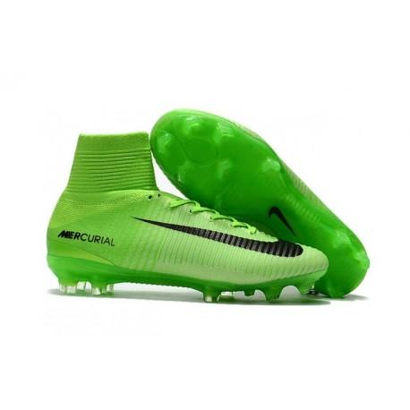 timeless design b1f4c 97c0d High Top Nike Mercurial Superfly 5 FG Soccer Cleats Green Black