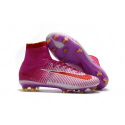 High Top Nike Mercurial Superfly 5 FG Soccer Cleats Pink Red