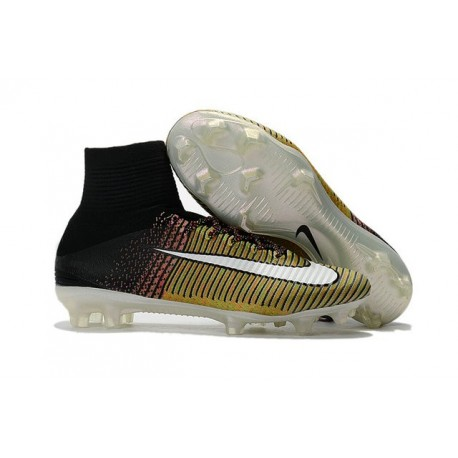 High Top Nike Mercurial Superfly 5 FG Soccer Cleats Yellow White