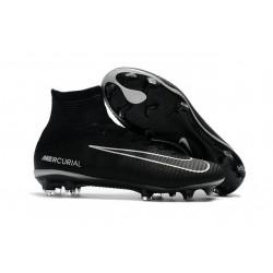 High Top Nike Mercurial Superfly 5 FG Soccer Cleats Black Dark Grey