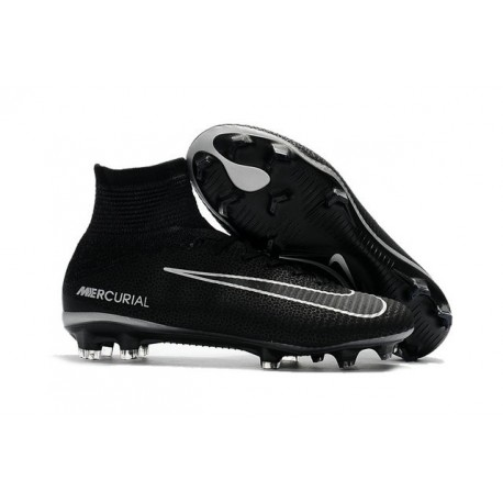 High Top Nike Mercurial Superfly 5 FG Soccer Cleats Black Dark Grey