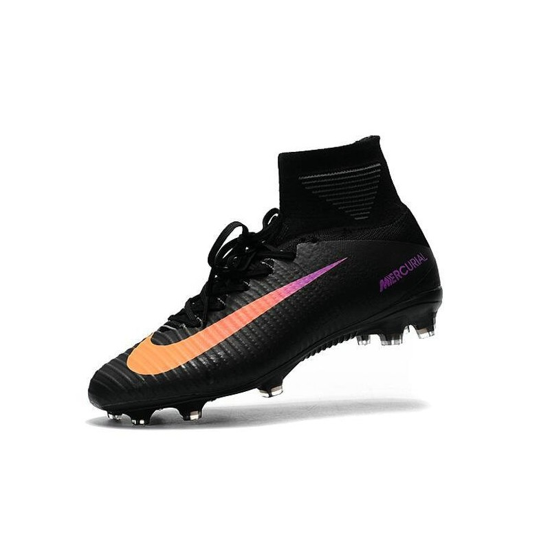 cheap for discount a14fd d2be1 High Top Nike Mercurial Superfly 5 FG Soccer Cleats Black Orange