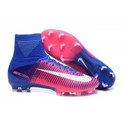 High Top Nike Mercurial Superfly 5 FG Soccer Cleats Pink Blue White