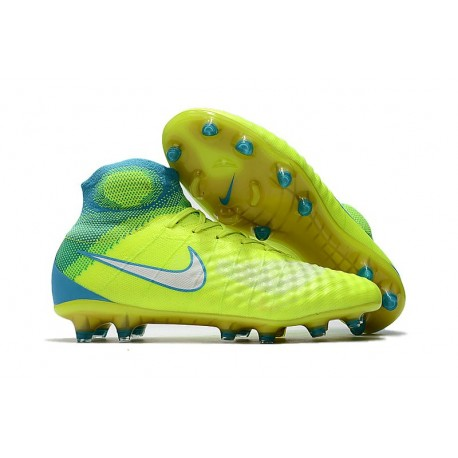 New Nike Magista Obra II FG Soccer Cleats For Men Yellow Blue