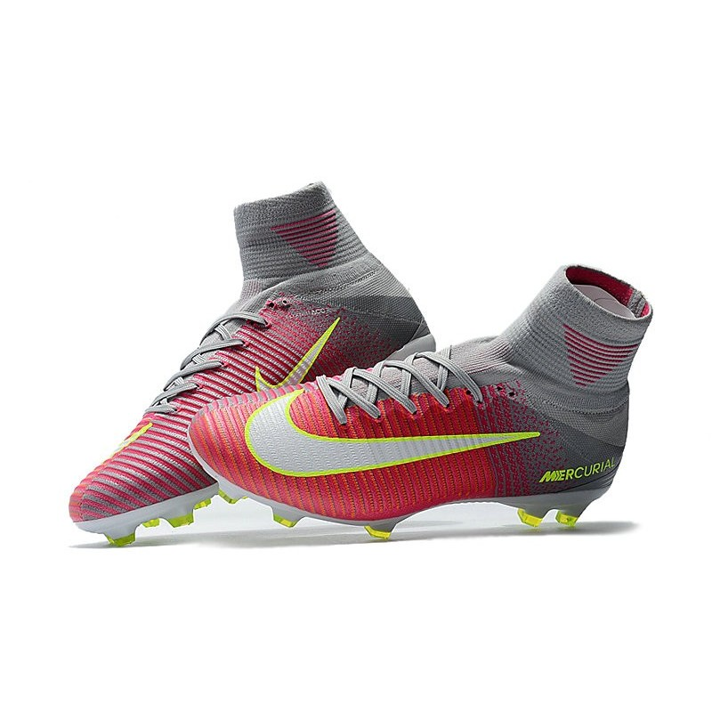 new product 24638 80c78 High Top Nike Mercurial Superfly 5 FG Soccer Cleats Pink Grey