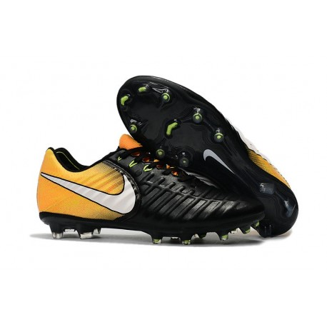 Nike Tiempo Legend 7 FG Leather Firm Ground Boots Black Yellow
