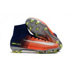 Nike Mercurial Superfly V FG 2017 New Football Boots Blue Orange Silver