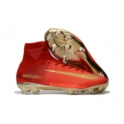 Nike Mercurial Superfly V FG 2017 New Football Boots Red Gold