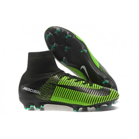 Nike Mercurial Superfly V FG 2017 New Football Boots Green Black