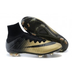 Men's Nike Mercurial Superfly IV FG Soccer Shoes CR7 Black Gold