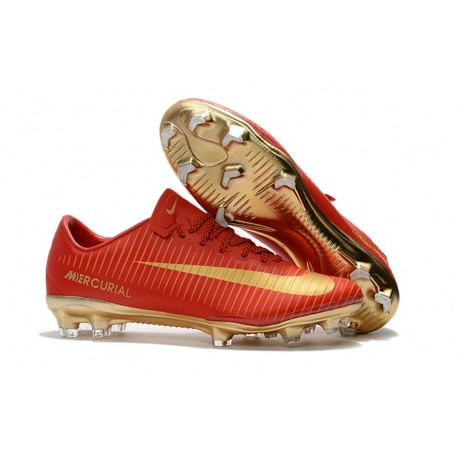 Nike Mercurial Vapor XI FG ACC 2017 Soccer Shoes - CR7 Gold Red