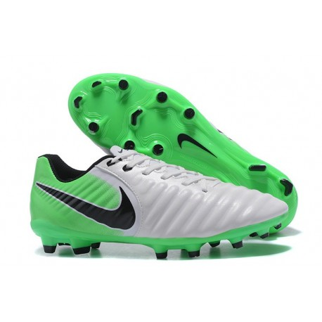 Nike Tiempo Legend 7 FG Leather Firm Ground Boots White Green Black