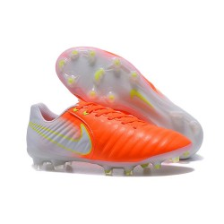 Nike Tiempo Legend 7 FG Leather Firm Ground Boots Orange White