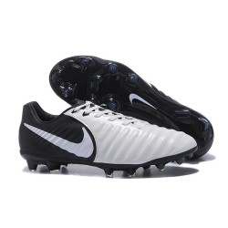 Nike Tiempo Legend 7 FG Leather Firm Ground Boots Black White