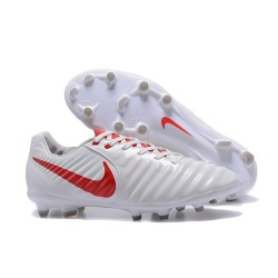 Nike Tiempo Legend 7 FG Leather Firm Ground Boots White Red