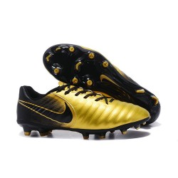 Nike Tiempo Legend 7 FG Leather Firm Ground Boots Gold Black